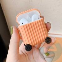 Чехол силиконовый для наушников Apple AirPods чемодан персиковый 67