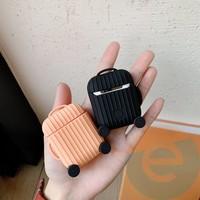 Чехол силиконовый для наушников Apple AirPods чемодан чёрный 64