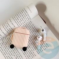Чехол силиконовый для наушников Apple AirPods чемодан бежевый 68