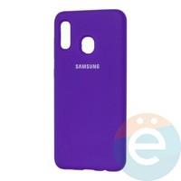 Накладка Silicone cover на Samsung Galaxy A20/A30 фиолетовая 36