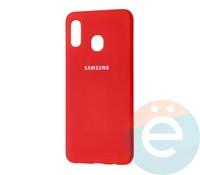 Накладка Silicone cover на Samsung Galaxy A40 красная 14