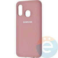 Накладка Silicone cover на Samsung Galaxy A20/A30 розовая 6