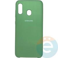 Накладка Silicone cover на Samsung Galaxy A20/A30 мятная 1