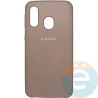 Накладка Silicone cover на Samsung Galaxy A40 пудровая 19