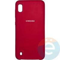 Накладка Silicone cover на Samsung Galaxy A10 бордовая 42
