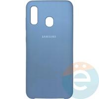 Накладка Silicone cover на Samsung Galaxy A20/A30 светло-сиреневая 5