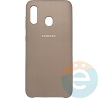 Накладка Silicone cover на Samsung Galaxy A20/A30 пудровая 19