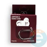 Чехол силиконовый для наушников Apple AirPods 2 с карабином Burgundy