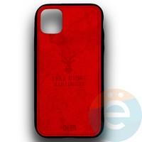 Накладка комбинированная джинсовая DEER для iPhone 11 Pro Max красная