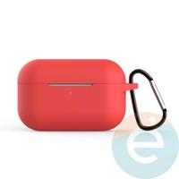 Чехол силиконовый для наушников Apple AirPods Pro с карабином Red