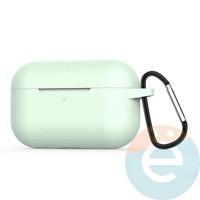 Чехол силиконовый для наушников Apple AirPods Pro с карабином Green