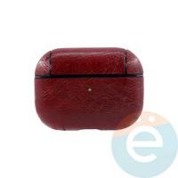 Чехол кожаный для наушников Apple AirPods Pro красный