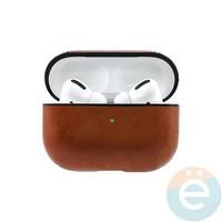 Чехол кожаный для наушников Apple AirPods Pro коричневый
