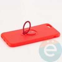 Накладка силиконовая iFace на Apple IPhone 6/6s с металлической пластиной с кольцом красная