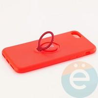 Накладка силиконовая iFace на Apple IPhone 7/8 с металлической пластиной с кольцом красная