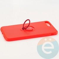 Накладка силиконовая iFace на Apple IPhone 7 Plus/8 Plus с металлической пластиной с кольцом красная