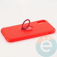 Накладка силиконовая iFace на Apple IPhone X/Xs с металлической пластиной с кольцом красная
