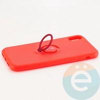 Накладка силиконовая iFace на Apple IPhone Xr с металлической пластиной с кольцом красная