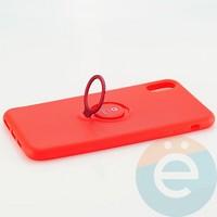 Накладка силиконовая iFace на Apple IPhone Xs Max с металлической пластиной с кольцом красная