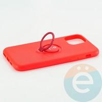 Накладка силиконовая iFace на Apple IPhone 11 Pro с металлической пластиной с кольцом красная