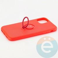 Накладка силиконовая iFace на Apple IPhone 11 с металлической пластиной с кольцом красная