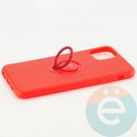 Накладка силиконовая iFace на Apple IPhone 11 Pro Max с металлической пластиной с кольцом красная