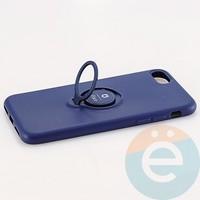 Накладка силиконовая iFace на Apple IPhone 7/8 с металлической пластиной с кольцом синяя