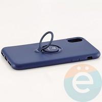 Накладка силиконовая iFace на Apple IPhone X/Xs с металлической пластиной с кольцом синяя