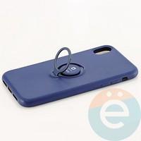 Накладка силиконовая iFace на Apple IPhone Xr с металлической пластиной с кольцом синяя