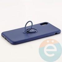 Накладка силиконовая iFace на Apple IPhone Xs Max с металлической пластиной с кольцом синяя