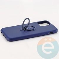 Накладка силиконовая iFace на Apple IPhone 11 Pro с металлической пластиной с кольцом синяя
