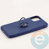 Накладка силиконовая iFace на Apple IPhone 11 с металлической пластиной с кольцом синяя