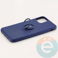 Накладка силиконовая iFace на Apple IPhone 11 Pro Max с металлической пластиной с кольцом синяя