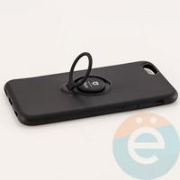 Накладка силиконовая iFace на Apple IPhone 6/6s с металлической пластиной с кольцом чёрная