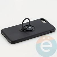 Накладка силиконовая iFace на Apple IPhone 7/8 с металлической пластиной с кольцом чёрная