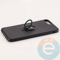 Накладка силиконовая iFace на Apple IPhone 7 Plus/8 Plus с металлической пластиной с кольцом чёрная