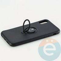 Накладка силиконовая iFace на Apple IPhone X/Xs с металлической пластиной с кольцом чёрная