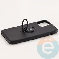 Накладка силиконовая iFace на Apple IPhone 11 Pro с металлической пластиной с кольцом чёрная