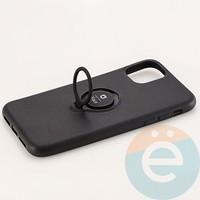 Накладка силиконовая iFace на Apple IPhone 11 с металлической пластиной с кольцом чёрная