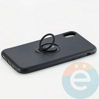 Накладка силиконовая iFace на Apple IPhone Xr с металлической пластиной с кольцом чёрная