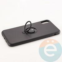 Накладка силиконовая iFace на Apple IPhone Xs Max с металлической пластиной с кольцом чёрная