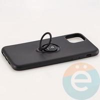 Накладка силиконовая iFace на Apple IPhone 11 Pro Max с металлической пластиной с кольцом чёрная