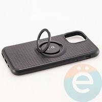 Накладка силиконовая iFace на Apple IPhone 11 Pro с металлической пластиной с кольцом черная