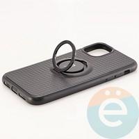 Накладка силиконовая iFace на Apple IPhone 11 с металлической пластиной и кольцом черная