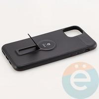 Накладка силиконовая iFace на Apple IPhone 11 Pro Max с металлической пластиной с подставкой черная