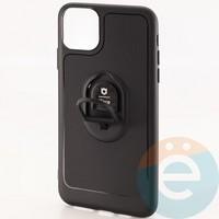 Накладка силиконовая iFace на Apple IPhone 11 Pro Max с металлической пластиной рифленая черная
