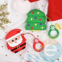 Чехол силиконовый для наушников Apple AirPods 1/2 Merry Christmas рождественская ёлка