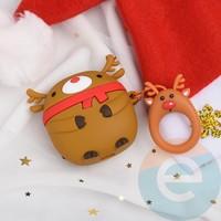 Чехол силиконовый для наушников Apple AirPods 1/2 Merry Christmas олень Санты