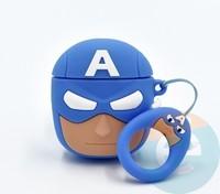 Чехол силиконовый для наушников Apple AirPods 1/2 Капитан Америка