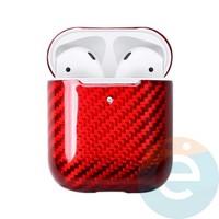 Чехол carbon fiber для наушников Apple AirPods 1/2 красный